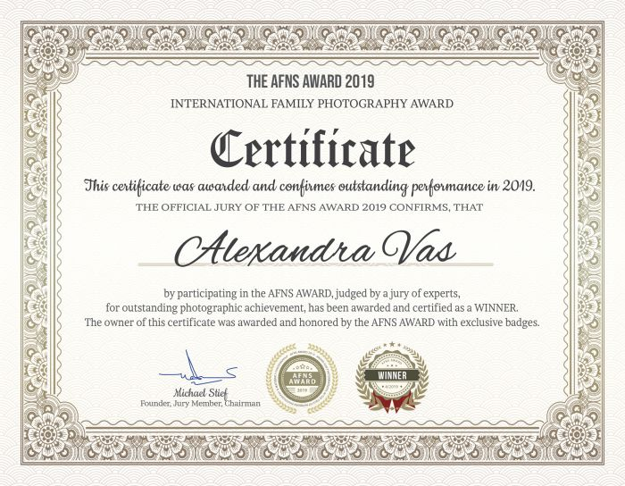 AFNS Award Certificate of Outstanding Performance - 2019-04