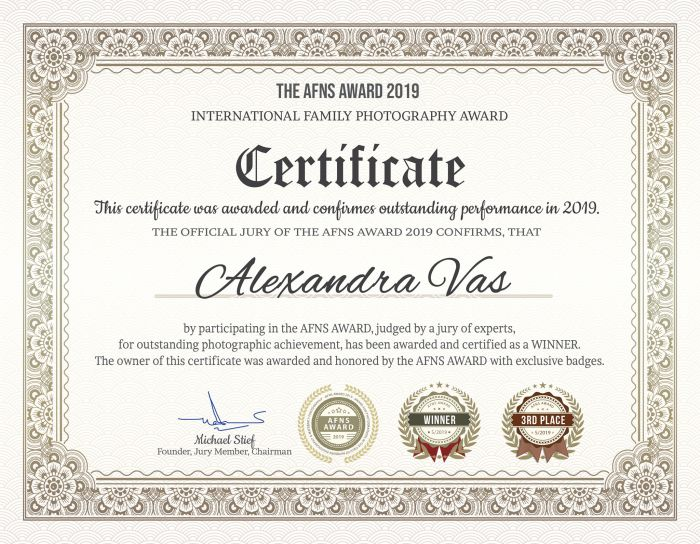 AFNS Award Certificate of Outstanding Performance - 2019-05